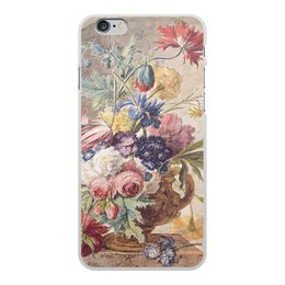 "Чехол для iPhone 6 Plus, объёмная печать ""Цветочный натюрморт (Ян ван Хёйсум)"" - цветы, картина, живопись, натюрморт, ян ван хёйсум"