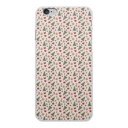 """Чехол для iPhone 6 Plus, объёмная печать """"Праздник"""" - сердце, звезды, снег, игрушки, елки"""