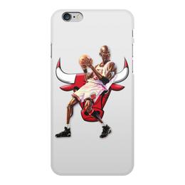 """Чехол для iPhone 6 Plus, объёмная печать """"Michael Jordan Cartooney"""" - 23, чикаго, бык, chicago bulls, джордан"""