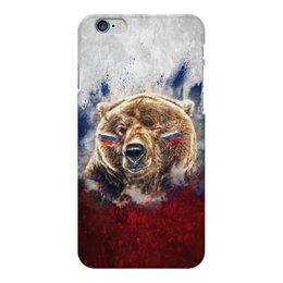 "Чехол для iPhone 6 Plus глянцевый ""Русский Медведь"" - флаг, триколор, россия, футбол, медведь"