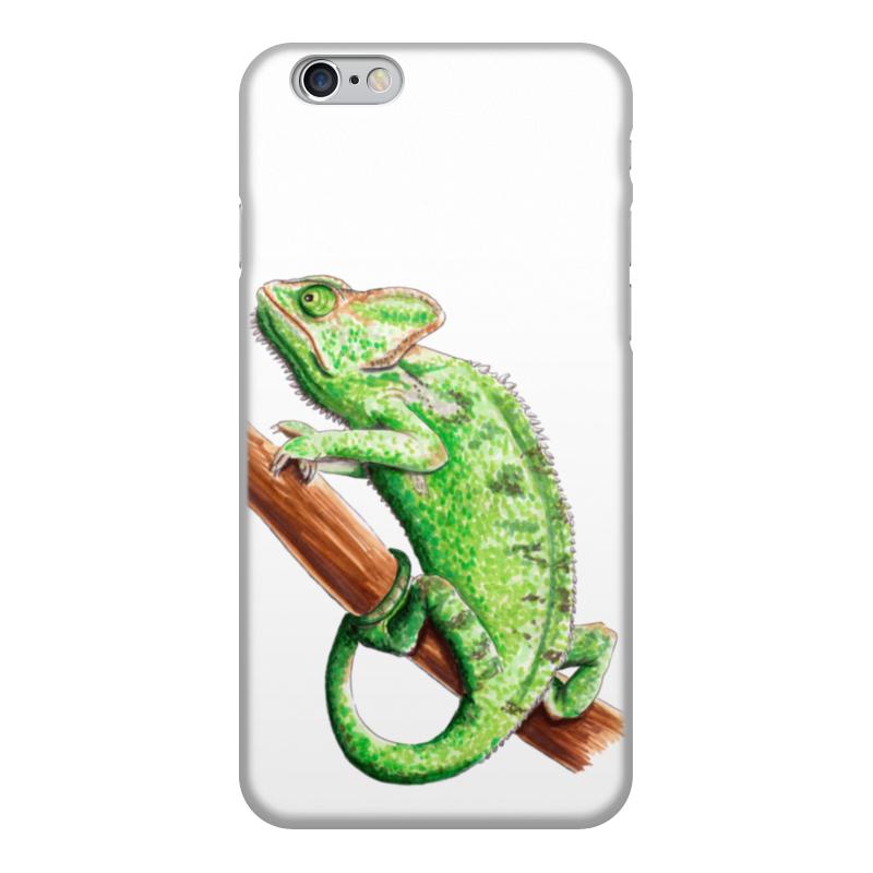 лучшая цена Чехол для iPhone 6, объёмная печать Printio Зеленый хамелеон на ветке
