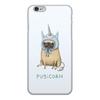"""Чехол для iPhone 6, объёмная печать """"Мопс единорог"""" - единорог, мопс"""