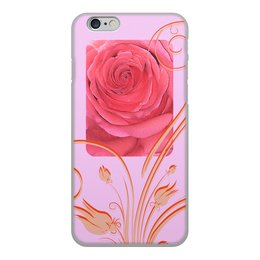 """Чехол для iPhone 6, объёмная печать """"Сердце розы."""" - цветок, роза, счастье, нежность, розовая роза"""