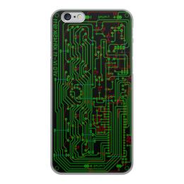 """Чехол для iPhone 6, объёмная печать """"Печатная плата"""" - электрика, электроника, технологии, печатная плата, микросхема"""