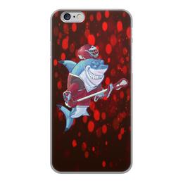 """Чехол для iPhone 6, объёмная печать """"Акула"""" - спортсмен, красный, краски, рыба, акула"""