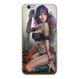 """Чехол для iPhone 6, объёмная печать """"МУЗЫКА ФЭНТЕЗИ"""" - девушка, гитара, стиль, красота, татуировка"""