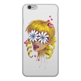 """Чехол для iPhone 6, объёмная печать """"Без ума от цветов"""" - любовь, девушка, цветы, сердца, блондинка"""