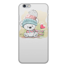 """Чехол для iPhone 6, объёмная печать """"Медвежонок"""" - юмор, зима, рисунок, мультяшка, медвежонок"""