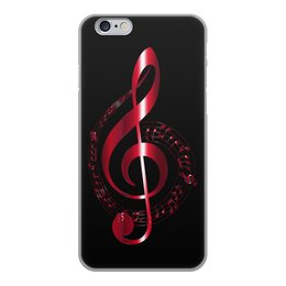 """Чехол для iPhone 6, объёмная печать """"МУЗЫКА"""" - скрипичный ключ, нотный знак, стиль эксклюзив креатив красота яркость, арт фэнтези"""