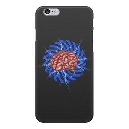 """Чехол для iPhone 6, объёмная печать """"Внутренний мир - мозг"""" - еда, мозг, зомби, электричество"""
