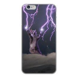 """Чехол для iPhone 6, объёмная печать """"Кот Тесла"""" - молния"""