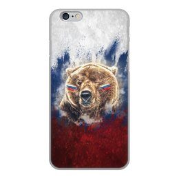 """Чехол для iPhone 6, объёмная печать """"Русский Медведь"""" - флаг, триколор, россия, футбол, медведь"""
