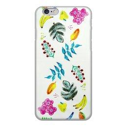 """Чехол для iPhone 6, объёмная печать """"Фрукты"""" - цветы, фрукты, листья, бананы"""