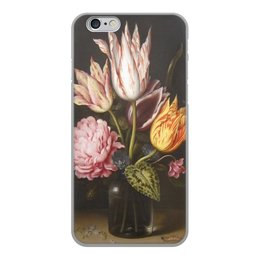 """Чехол для iPhone 6, объёмная печать """"Букет из тюльпанов, роз, клевера, и цикламен"""" - цветы, картина, босхарт"""