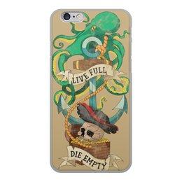 """Чехол для iPhone 6, объёмная печать """"Осьминог"""" - татуировка, якорь, пират, old school, череп"""