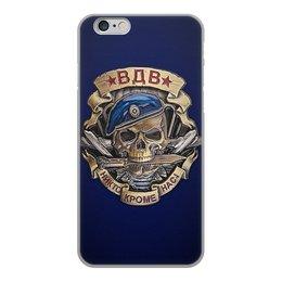 """Чехол для iPhone 6, объёмная печать """"ВДВ - НИКТО, КРОМЕ НАС"""" - череп, нож, эмблема, стиль надпись логотип яркость"""