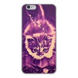 """Чехол для iPhone 6, объёмная печать """"Fire cat"""" - кот, животные, яркий, дизайнерский, интересный"""