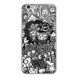 """Чехол для iPhone 6, объёмная печать """"Иллюстрация"""" - звезда, люди, баран, ананас, козел"""