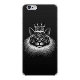 """Чехол для iPhone 6, объёмная печать """"Кошачий король."""" - кот, кошка, животные, король, графика"""