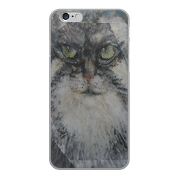 """Чехол для iPhone 6, объёмная печать """"Манул"""" - кот, животные, оригинальный, север, суровый"""