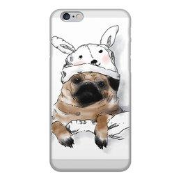 """Чехол для iPhone 6, объёмная печать """"Мопс в шапочке"""" - заяц, пес, щенок, собака, мопс"""