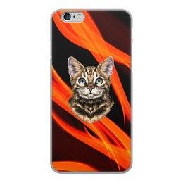 """Чехол для iPhone 6, объёмная печать """"Без названия"""" - кот, животные, котенок, огонь, пламя"""