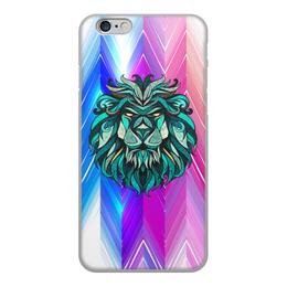 """Чехол для iPhone 6, объёмная печать """"Расписной лев"""" - животные, лев, краски, линии, морда"""