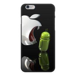 "Чехол для iPhone 6, объёмная печать ""Айфон против Андроид"" - айфон и андроид"
