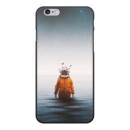 """Чехол для iPhone 6, объёмная печать """"Space in ocean"""" - бабочки, space, космос, океан, космонавт"""
