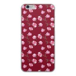 """Чехол для iPhone 6, объёмная печать """"Пионовая нежность"""" - цветы, акварель, пионы, бордо"""