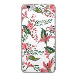 """Чехол для iPhone 6, объёмная печать """"Цветы на белом"""" - цветы, роза, листья, природа, пион"""