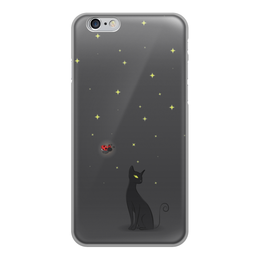 """Чехол для iPhone 6, объёмная печать """"Ночная история"""" - ночь, коты, божья коровка"""