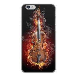 """Чехол для iPhone 6, объёмная печать """"МУЗЫКА ФЭНТЕЗИ"""" - огонь, скрипка, красота, яркость, стиль"""