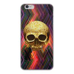 """Чехол для iPhone 6, объёмная печать """"Черепушка"""" - череп, полосы, краски, абстракция, линии"""