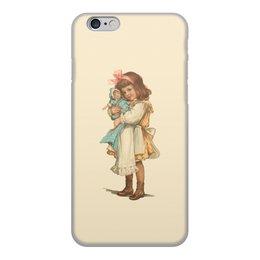 """Чехол для iPhone 6, объёмная печать """"Девочка с куклой."""" - игра, ретро, рисунок, кукла, девочка"""