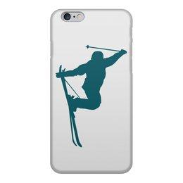 """Чехол для iPhone 6, объёмная печать """"Фристайл"""" - силуэт, спорт, зима, лыжи, фристайл"""