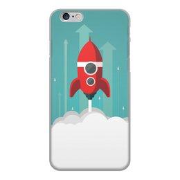 """Чехол для iPhone 6, объёмная печать """"Ретро Красная ракета"""" - ретро, космос, мотивация, плакат, ракета"""