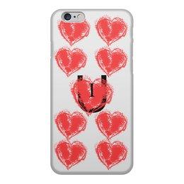 """Чехол для iPhone 6, объёмная печать """"I love u"""" - любовь, сердца, you, люблю"""