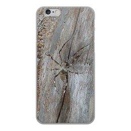 """Чехол для iPhone 6, объёмная печать """"Паук."""" - насекомое, паук, пауки, макро мир, древесина"""