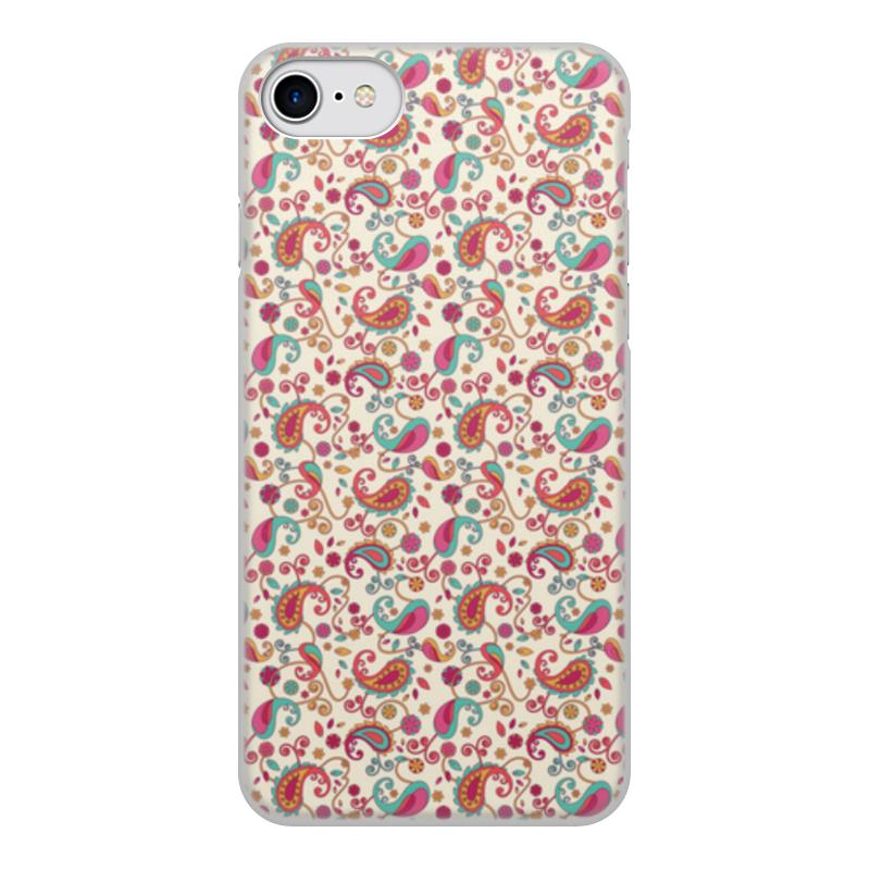Чехол для iPhone 7, объёмная печать Printio Пейсли (яркий)