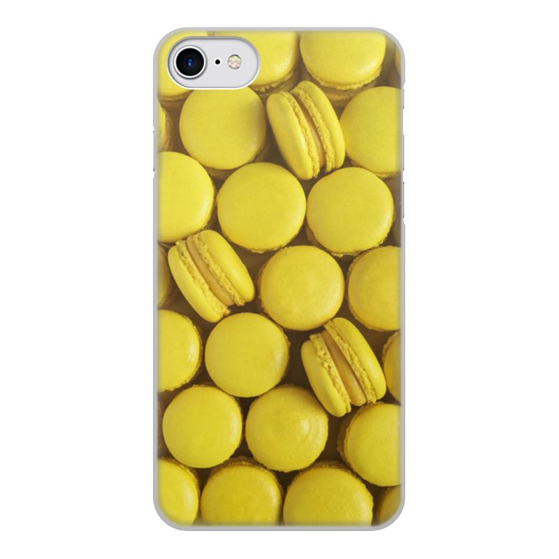 Чехол для iPhone 7, объёмная печать Printio Пирожное макаронс желтый стоимость