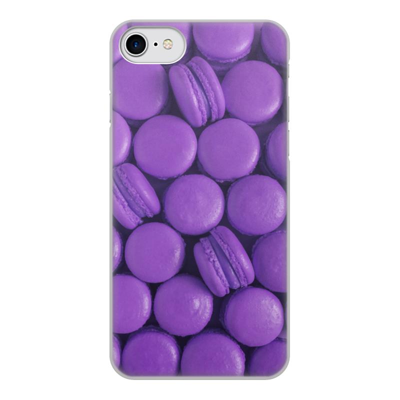 Чехол для iPhone 7, объёмная печать Printio Пирожные макаронс фиолетовые эклеры и другие домашние пирожные