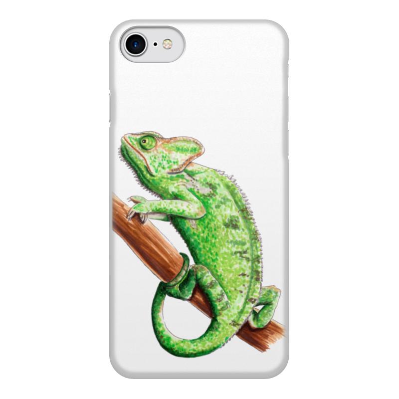 лучшая цена Чехол для iPhone 7, объёмная печать Printio Зеленый хамелеон на ветке