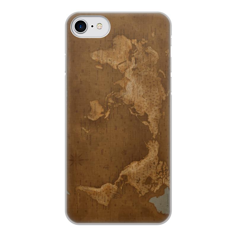 Чехол для iPhone 7, объёмная печать Printio Карта мира цена