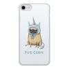 """Чехол для iPhone 7, объёмная печать """"Мопс единорог"""" - единорог, мопс"""