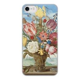 """Чехол для iPhone 7, объёмная печать """"Букет цветов на полке (Амброзиус Босхарт)"""" - цветы, картина, живопись, натюрморт, босхарт"""