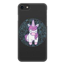 """Чехол для iPhone 7, объёмная печать """"Unicorn"""" - единорог, розовый, сердце, орнамент, узор"""