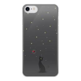 """Чехол для iPhone 7, объёмная печать """"Ночная история"""" - ночь, коты, божья коровка"""