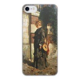 """Чехол для iPhone 7, объёмная печать """"Стрекоза («Лето красное пропела…»)"""" - девушка, гитара, картина, живопись, поленов"""