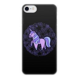 """Чехол для iPhone 7, объёмная печать """"Unicorn"""" - звезды, сердце, единорог, орнамент, узор"""